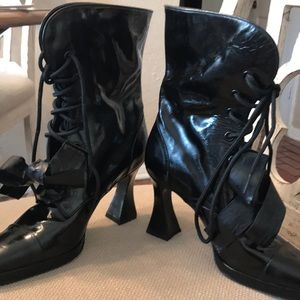 Chanel black patent leather boots